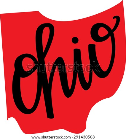 ohio state outline hand lettering stock vector 291430508 shutterstock rh shutterstock com ohio flag clip art ohio clip art state outline
