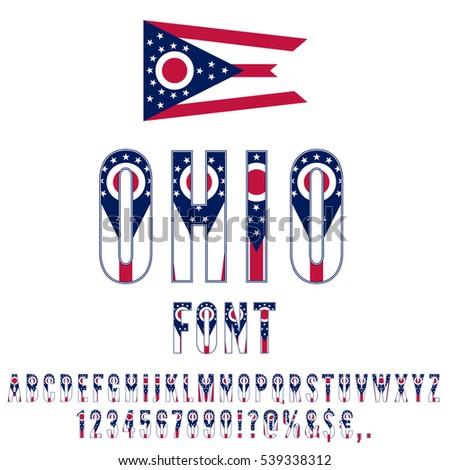 Ohio Usa State Flag Font Alphabet Stock Vector 539338312 Shutterstock