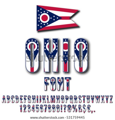 Ohio Usa State Flag Font Shadows Stock Vector 531759445 Shutterstock