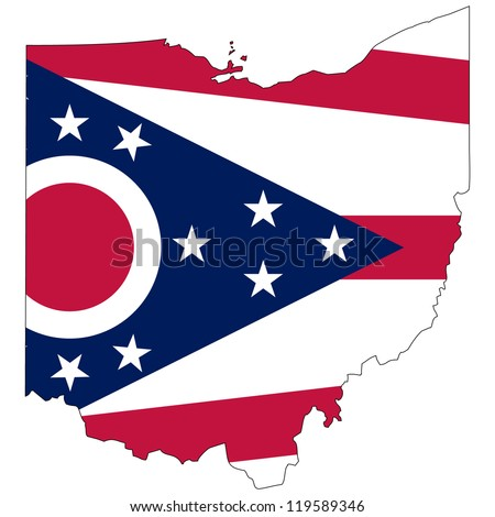 Ohio vector map with the flag inside. - stock vector