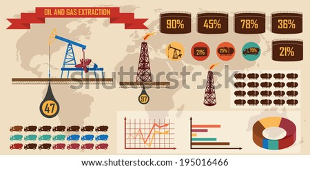 oil and gas extraction - stock vector