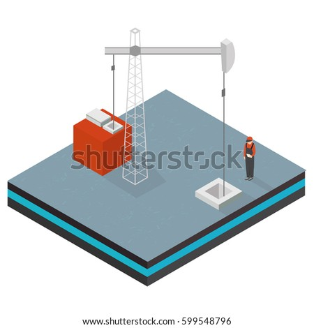 Oil and gas platform. Flat 3d isometric illustration. For infographics and design