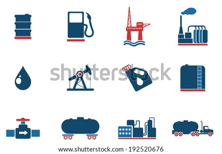 Oil and petrol industry objects icons - stock vector