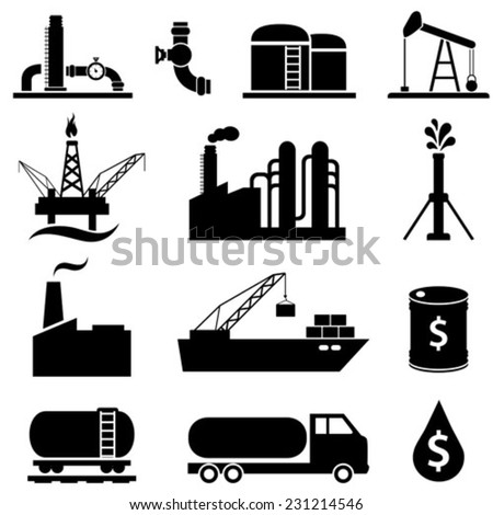 Oil and petroleum industry icons - stock vector