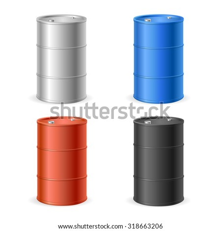 Oil Barrel Drum Collection. Four Colored Steel Barrels. Vector illustration - stock vector
