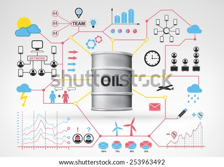 oil barrel goods with blue red info graphic icons and graphs around vector background for web and media design collection illustration - stock vector