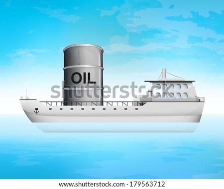 oil barrel on freighter deck transportation vector concept illustration - stock vector