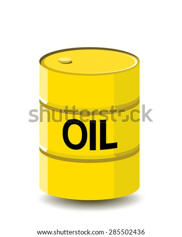 oil barrel, yellow color  - stock vector