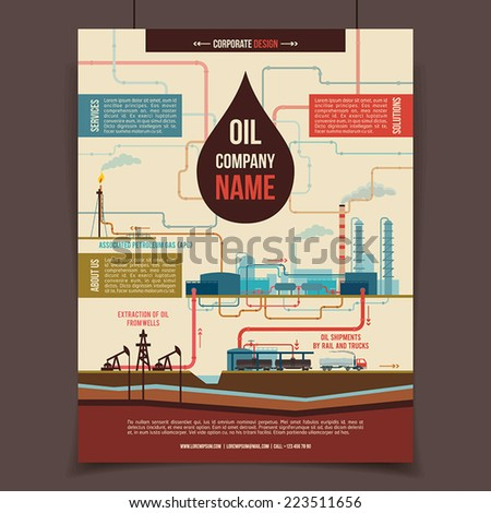 Oil company corporate template poster - stock vector
