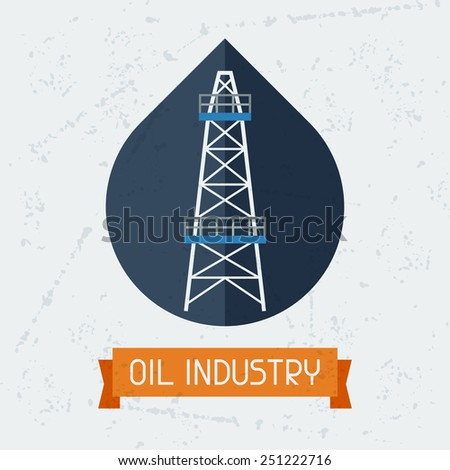 Oil derrick in oilfield background.  Industrial illustration in flat style. - stock vector