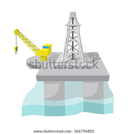 Oil derrick in sea cartoon icon. Single illustration isolated on a white background - stock vector