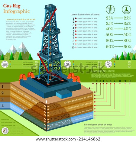 oil derrick tower or gas rig info graphic with landscape - stock vector