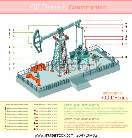 oil derrick tower or gas rig infographic on white - stock vector