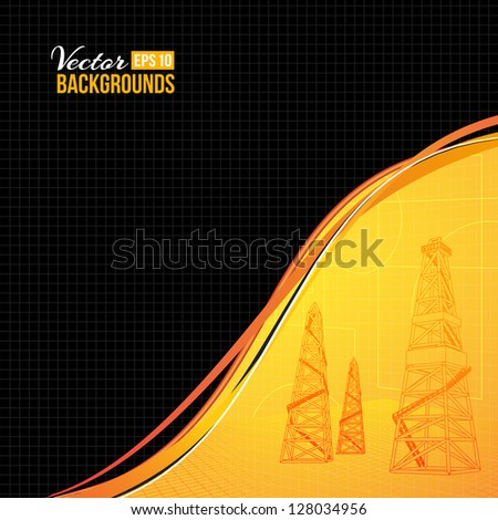 Oil derrick with text field. Vector illustration, eps 10, contains transparencies. - stock vector