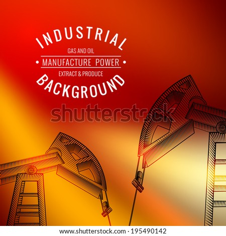 Oil derricks on sunset as a concept of oil industry. Vector illustration. - stock vector