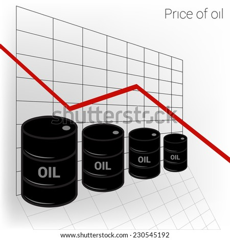 Oil diagram. Price of oil. Barrels of oil and an arrow pointing down - stock vector