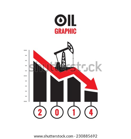 Oil down graphic - vector concept illustration. Catastrophic drop in oil prices. The global financial crisis. Oil infographic.  - stock vector