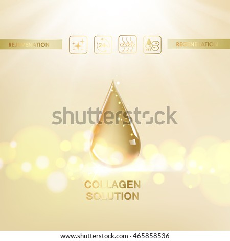 Oil drop of hyaluronic acid for moisturizing collagen design. Regenerate cream and vitamin design. Vector illestration.