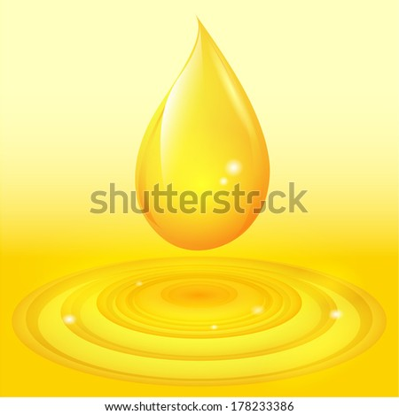 Oil drop with waves - stock vector