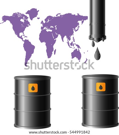 oil drums and purple image of a planet on a white background