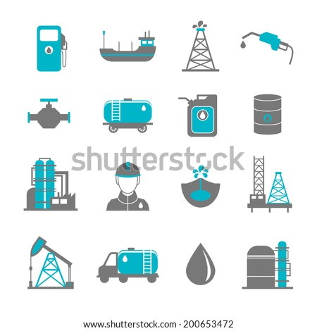 Oil extraction gas production transportation and distribution pictograms collection with industrial complex petroleum pump isolated vector illustration - stock vector