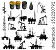 Oil facilities. Black-and-white illustration on a white background. - stock