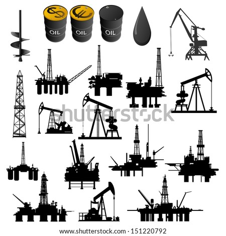 Oil facilities. Black-and-white illustration on a white background. - stock vector