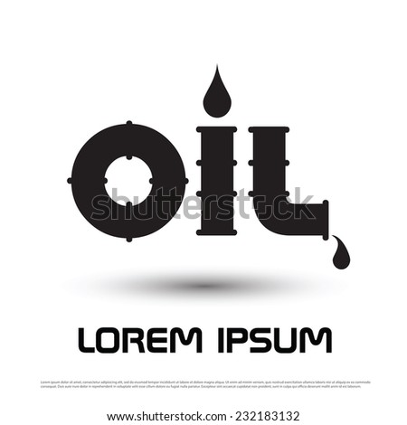 Oil icon word energy - stock vector