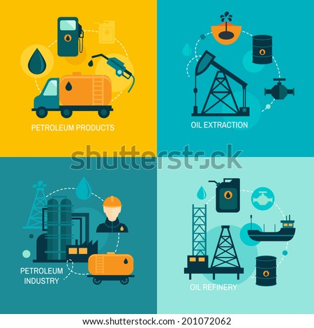 Oil industry business concept of gasoline diesel production fuel distribution and transportation four icons composition vector illustration - stock vector