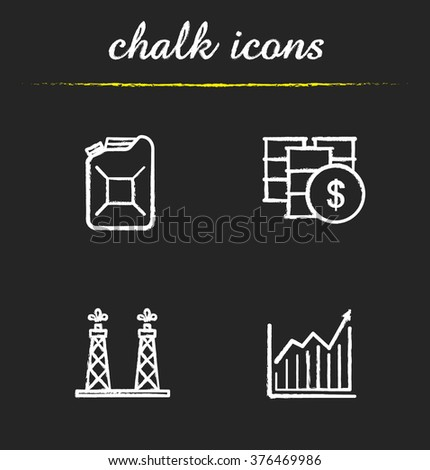 Oil industry chalk icons set. Jerrycan and oil barrel. Diagram and oil rig icons. Petroleum trade. Oil and gas production industry. White illustrations on blackboard. Vector chalkboard logo concepts - stock vector