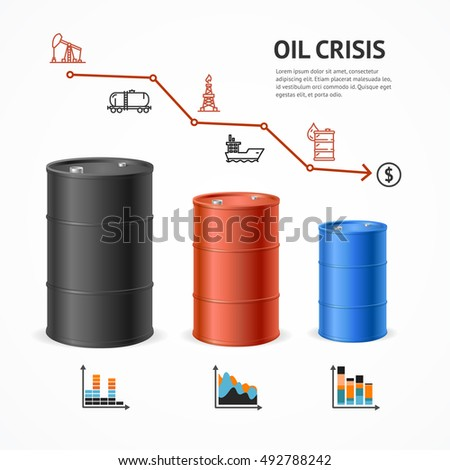 Oil Industry Crisis Graph Concept. Financial Market and Icons. Vector illustration of Oils Barrels and Financial Chart Price Down. Business Concept of Crisis
