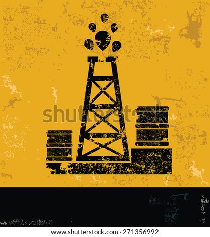 Oil industry design on yellow background,grunge concept vector - stock vector