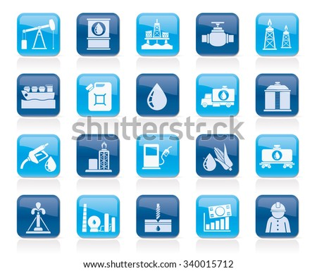 Oil industry, Gas production, transportation and storage icons - vector icon set - stock vector