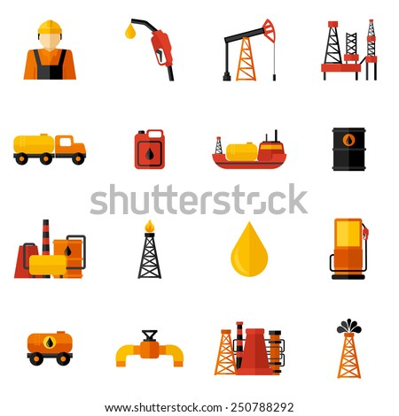 Oil industry gasoline processing drilling icons flat set isolated vector illustration - stock vector
