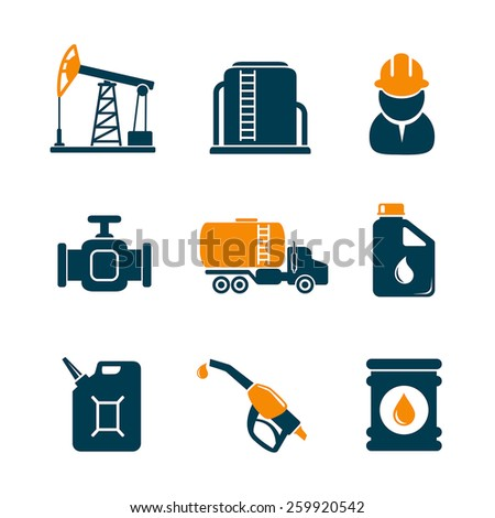 Oil industry gasoline processing icons - stock vector
