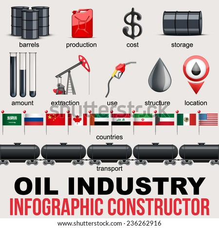 Oil Industry Infographic design Elements. Petroleum production and value in different countries. Vector Illustration. - stock vector