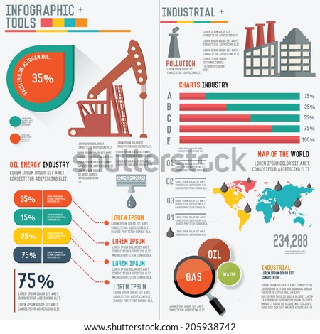 Oil Industry Infographic Elements on white background,clean vector - stock vector