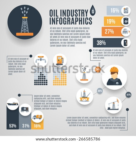 Oil industry infographic set with petroleum extraction symbols charts vector illustration - stock vector