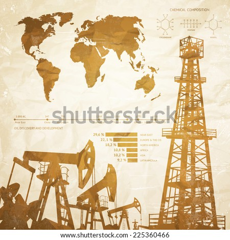 Oil industry infographics over old paper background. Vector illustration. - stock vector