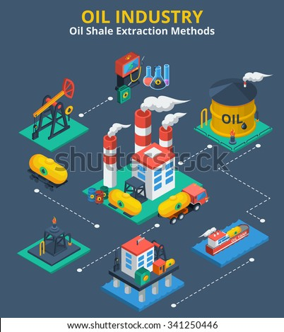Oil industry isometric concept with fuel transportation process 3d icons vector illustration - stock vector