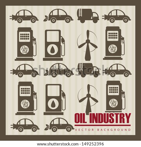 oil industry over beige background vector illustration  - stock vector