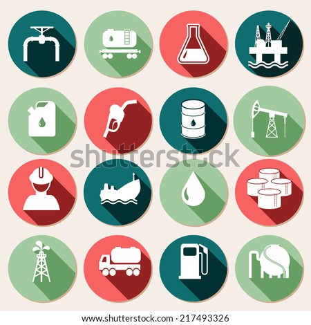 Oil industry petrol and gasoline energy icons set isolated vector illustration - stock vector