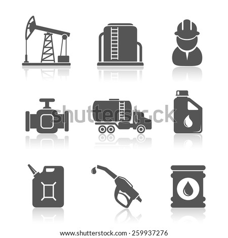 Oil industry petroleum processing icons set - stock vector