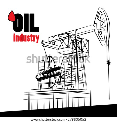 Oil industry - vector illustration oil pump isolated - stock vector