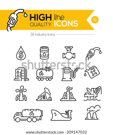 Oil  Line Icons Series - stock vector