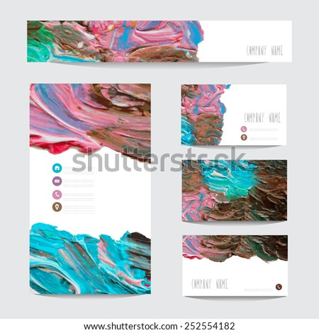 Oil painted business card templates, design elements. Can be used also for greeting cards, banners, invitations. Vectorized background - stock vector