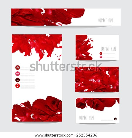 Oil painted business card templates in red colors, design elements. Can be used also for greeting cards, banners, invitations. Vectorized background - stock vector
