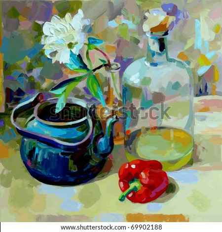 oil painting - stock vector