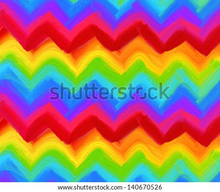 Oil painting vector rainbow zigzag striped seamless pattern - stock vector