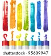 oil paints and strokes in rainbow colors - stock photo
